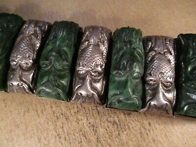 "Antique Chinese Export Sterling Silver/Green Stone Dragons Bracelet, 6.5"", 101g"