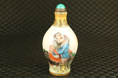 chinese old porcelain hand painting new married snuff bottle
