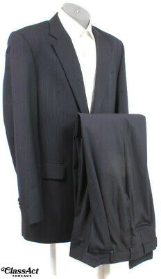 """Jos A Bank Mens Black Striped 2 Btn Wool 2pc Suit 44XL PLeated Fronts 38"""" Waist"""