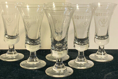 "Set Of 6 Jagermeister Footed Stem 3 3/4"" Tall Liquor Shot Glasses/Cordials (P)"