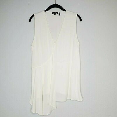 Theory Cream Silk Fluid Flounce Faux Wrap Plunge Top Size Large