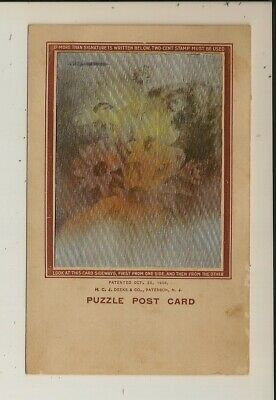 H.C.J. Deeks - Puzzle Post Card - Black-Eyed Susan - Girl / Flower - Lenticular