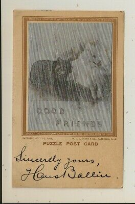H.C.J. Deeks - Puzzle Post Card - Good Comrades / Good Friends -Lenticular- 1907