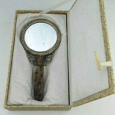 Antique Tibetan Chinese Oriental Hand Carved Jade Hand Held Dragon Mirror