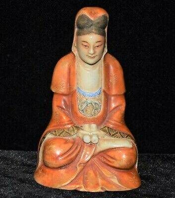 Pastel Gilded Buddha GuanYin Statue Buddhism Seated Porcelain Sculpture X239