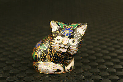 chinese old Cloisonne flower cat Statue pendant collectable gift netsuke collect