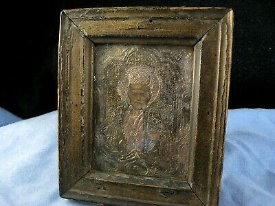 St Nicolas Antique Silver Gold Russian Orthodox Icon Wall Plaque Prayer Picture