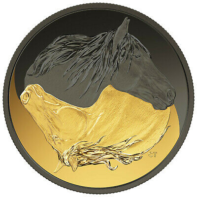 1 Ounce Silver Matte Proof Black and Gold Canadian Horse 20 $ Kanada 2020 Canada