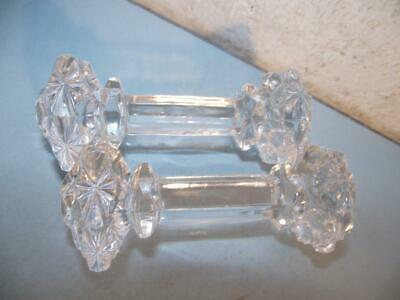 Pair Cut Glass Knife Rests English Lead Crystal Unknown Maker