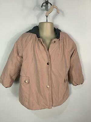 Girls Zara Light Pink Casual Winter Jacket Hood Rain Coat Kids Age 1.5/2 Years
