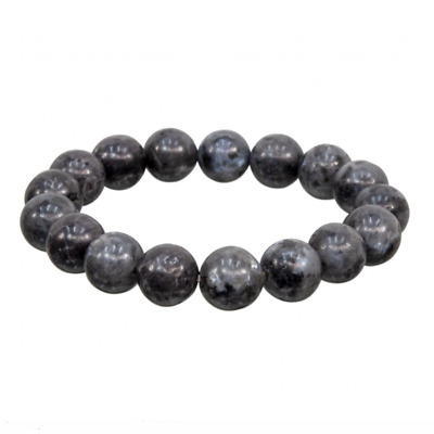 Men's Larvikite Pearl Blue Polished Beaded Bracelet 46 gr India Reiki Crystal