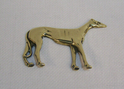 Antique Victorian Cast Brass Figural Greyhound Lurcher Dog Mantel Ornament ??