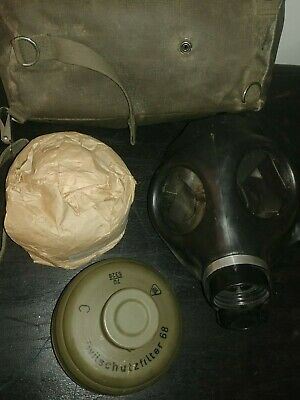 Vintage WWII German Zivilschutzfilter Gas Mask, Canisters & case