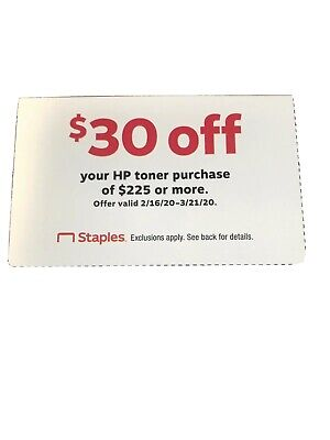 Staples $30 Off HP toner Purchase Of $225. Exp.3/21/20 Coupon