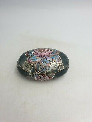 Chinese Porcelain Oblong Lidded Trinket Box Grey Water Lily Floral Hand Painted