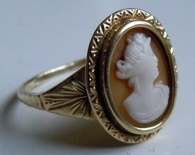 FABERGE Antique Imperial RUSSIAN Ring Cameo, 56 gold ( old solid gold 14K).