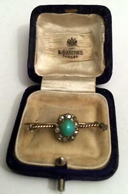 FABERGE Antique Imperial RUSSIAN Gold Brooch with Turquoise stone, 56 gold