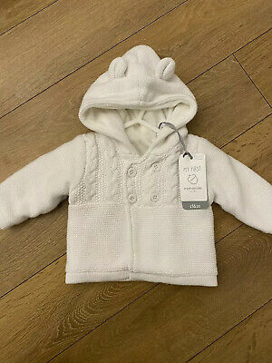 Newborn (up To 1 Month) Hooded Fleece Cardigan, White, BNWT, RRP £16