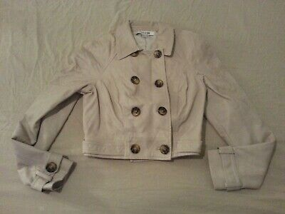 Womens Girls Juniors Forever 21 Faux Leather Jacket S Small Cream Pleather