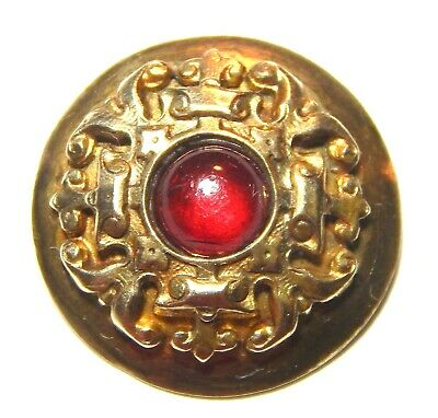 ANTIQUE VICTORIAN SCROLLED GILT BRASS BUTTON w/RUBY RED GLASS CABOCHON JEWEL