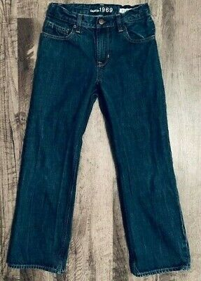 Gap Kids 1969 Boys Boot cut Denim Blue Jeans Size 7 slim Adj Waist