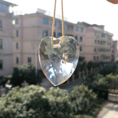 40MM Heart Clear Crystal Prism Chandelier Lamp Part Hanging Pendants Suncatcher
