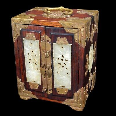 Chinese Rosewood and Jade Paneled Jewelry Box Early 20th Century