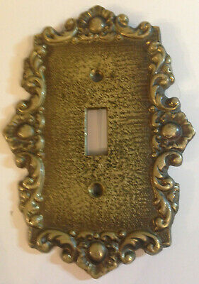 Vintage Switch Plate Cover Brass Roses Floral Sorollon Linen By Cameron #405