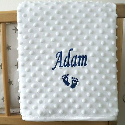 Personalised Baby Blanket Luxury White Bubble Style Blue Script Font Name Feet G