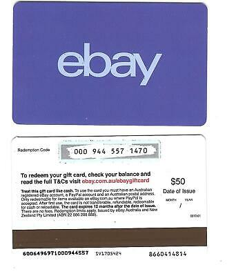 FOR COLLECTION ONLY - 1 x USED Australia ebay gift card -Blue, NO CREDIT VALUE