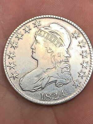 1824 CAPPED BUST LETTERED EDGE SILVER HALF DOLLAR SCARCE F to VF or Better