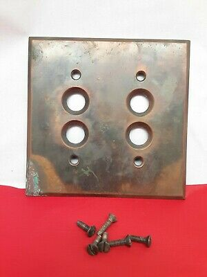 Perkins Brass Light Switch Cover For Double Push Button Victorian W/Screws