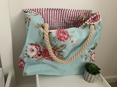 Joules Large Beach Bag Pale Blue With Flowers Rope Handles BNWT