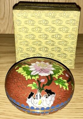 Vintage Chinese Cloisonné Red Enamel Pink Blossom Inlay Lidded Powder Jar. Boxed