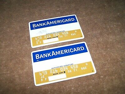 Pair of Vintage BankAmericard Bank Americard Credit Cards exp 1971