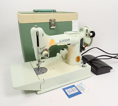 Vintage White Featherweight Singer 221-K Sewing Machine Mint Green Case & Pedal