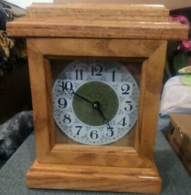 Handmade Wooden Mantle Clock With Easy Access Open Space Behind Face