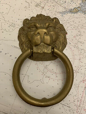 Vintage Heavy Brass Lion Door Knocker Large And Very Cool Look
