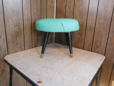 Mid Century Modern Round Turquoise Ottoman Foot Stool Tapered Wood Brass Tip
