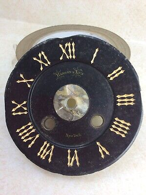 Antique French Mantel Clock Black Slate Dial w/ Engraved Numbers, P/R