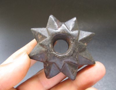 """Antique Chinese Hongshan Culture Jade black magnet """"8 Angle star"""" Amulet Pendant"""