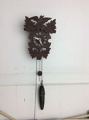Vintage Novelty German Black Forest Small Cuckoo Clock,w/ 1 Weight & Pendulum.
