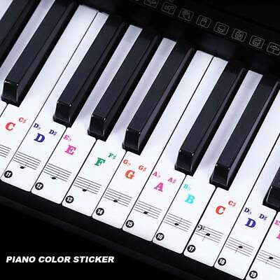 37/49/61/88 Colorful keys Music Keyboard Piano Stickers Set Removable Stickers.