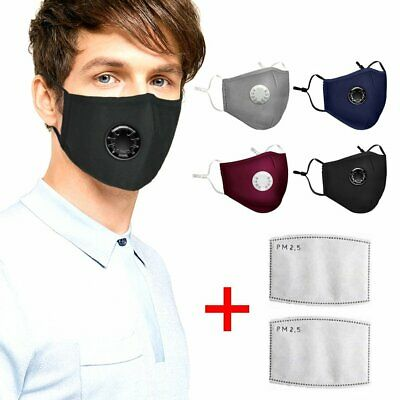 Washable Reusable N95 Anti Air Pollution Face Mask With Respirator &2 Filters