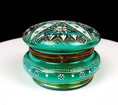 """Victorian Era Glass Green With Floral Enamel 3 1/4"""" Hinged Trinket Box 1880-1920"""