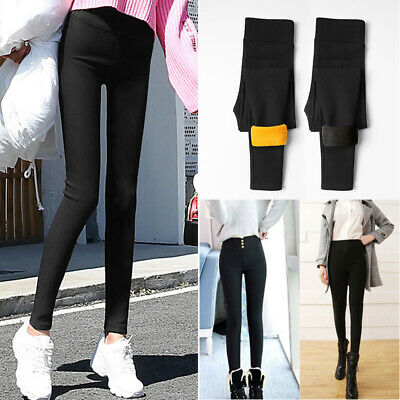 Women Thick Fleece Pants High Waist Warm Slim Skinny Leggings Thermal Trousers