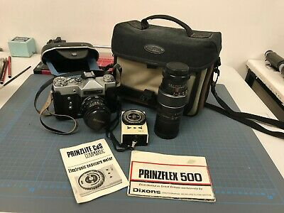 Prinzflex 500 35mm camera photography kit complete with bag manual etc.