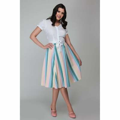 Collectif Mainline Matilde Teapot Stripe Skirt