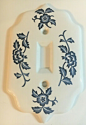 VTG Ceramic Porcelain Single Light Switch Plate Cover white blue floral Japan