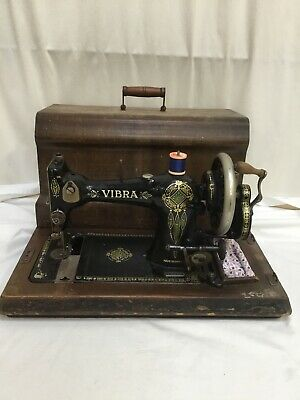 Antique VIBRA Hand Cranked Mechanical Sewing Machine in Case Made in England